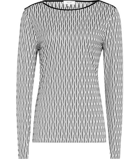 Mirror Interest Jersey Top - neckline: round neck; secondary colour: white; predominant colour: light grey; occasions: casual; length: standard; style: top; fibres: polyester/polyamide - stretch; fit: body skimming; sleeve length: long sleeve; sleeve style: standard; pattern type: fabric; pattern: patterned/print; texture group: jersey - stretchy/drapey; multicoloured: multicoloured; season: s/s 2016; wardrobe: highlight