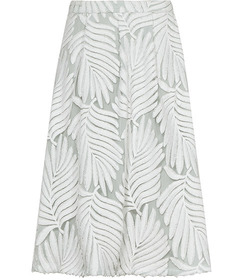 Hex Textured Midi Skirt - style: full/prom skirt; fit: loose/voluminous; waist: mid/regular rise; predominant colour: white; occasions: evening; length: on the knee; fibres: nylon - 100%; pattern type: fabric; pattern: florals; texture group: other - light to midweight; pattern size: big & busy (bottom); season: s/s 2016; wardrobe: event