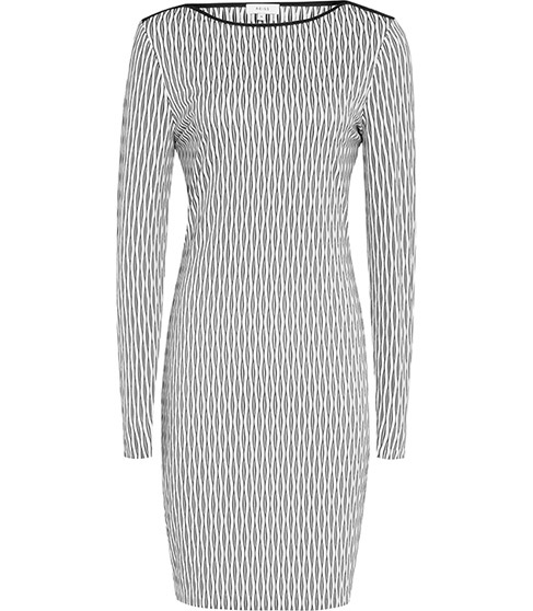 Auguste Graphic Bodycon Dress - fit: tight; style: bodycon; secondary colour: white; predominant colour: light grey; occasions: evening; length: just above the knee; fibres: polyester/polyamide - stretch; neckline: crew; sleeve length: long sleeve; sleeve style: standard; texture group: jersey - clingy; pattern type: fabric; pattern: patterned/print; multicoloured: multicoloured; season: s/s 2016; wardrobe: event