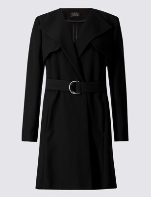 Petite Belted Wrap Coat - pattern: plain; collar: wide lapels; length: on the knee; style: wrap around; predominant colour: black; occasions: casual, creative work; fit: tailored/fitted; fibres: polyester/polyamide - stretch; waist detail: belted waist/tie at waist/drawstring; sleeve length: long sleeve; sleeve style: standard; collar break: medium; pattern type: fabric; texture group: other - light to midweight; season: s/s 2016; wardrobe: basic