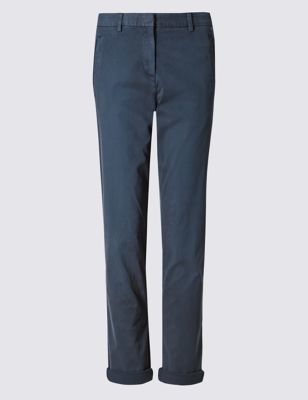 Cotton Rich Chinos - length: standard; pattern: plain; waist: mid/regular rise; predominant colour: navy; occasions: casual, creative work; style: chino; fibres: cotton - stretch; texture group: cotton feel fabrics; fit: straight leg; pattern type: fabric; season: s/s 2016; wardrobe: basic