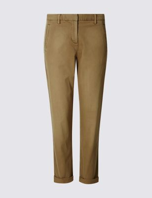 Cotton Rich Chinos - length: standard; pattern: plain; waist: mid/regular rise; predominant colour: camel; occasions: casual; style: chino; fibres: cotton - stretch; texture group: cotton feel fabrics; fit: straight leg; pattern type: fabric; season: s/s 2016; wardrobe: basic