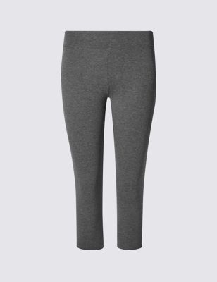 Cotton Rich Cropped Leggings - pattern: plain; style: leggings; waist: mid/regular rise; predominant colour: mid grey; occasions: casual; length: calf length; fibres: cotton - stretch; fit: skinny/tight leg; pattern type: fabric; texture group: woven light midweight; season: s/s 2016