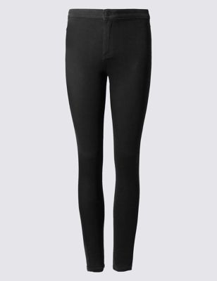 High Waist Super Skinny Jeggings - length: standard; pattern: plain; style: jeggings; waist: mid/regular rise; predominant colour: black; occasions: casual; fibres: cotton - stretch; texture group: denim; pattern type: fabric; season: s/s 2016; wardrobe: basic; trends: metropolis