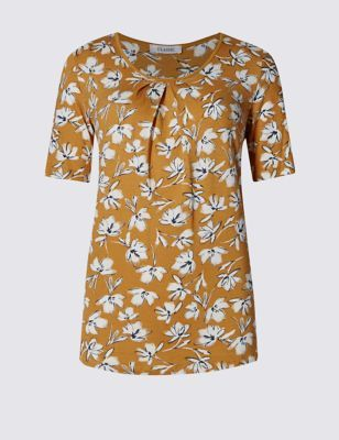 Floral Jersey Top - secondary colour: white; predominant colour: mustard; occasions: casual; length: standard; style: top; fibres: viscose/rayon - stretch; fit: body skimming; neckline: crew; sleeve length: short sleeve; sleeve style: standard; pattern type: fabric; pattern: florals; texture group: jersey - stretchy/drapey; pattern size: big & busy (top); multicoloured: multicoloured; season: s/s 2016