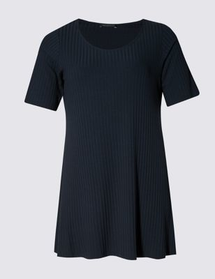 Ribbed Round Neck Swing Tunic - neckline: round neck; pattern: plain; length: below the bottom; style: tunic; predominant colour: navy; occasions: casual; fibres: viscose/rayon - stretch; fit: body skimming; sleeve length: short sleeve; sleeve style: standard; pattern type: fabric; texture group: jersey - stretchy/drapey; season: s/s 2016; wardrobe: basic