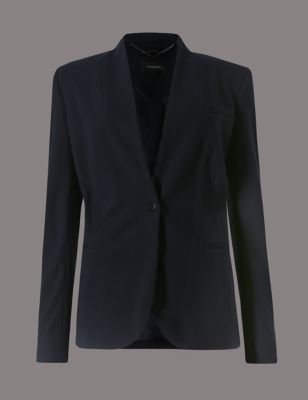 1 Button Blazer - pattern: plain; style: single breasted blazer; collar: round collar/collarless; length: below the bottom; predominant colour: navy; occasions: casual, work, creative work; fit: tailored/fitted; fibres: polyester/polyamide - 100%; sleeve length: long sleeve; sleeve style: standard; collar break: low/open; pattern type: fabric; texture group: other - light to midweight; season: s/s 2016; wardrobe: basic