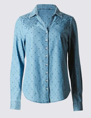 Cut Out Embroidered Denim Shirt - neckline: shirt collar/peter pan/zip with opening; style: shirt; pattern: polka dot; predominant colour: denim; occasions: casual; length: standard; fibres: cotton - 100%; fit: straight cut; shoulder detail: added shoulder detail; sleeve length: long sleeve; sleeve style: standard; texture group: denim; pattern type: fabric; pattern size: light/subtle; embellishment: embroidered; season: s/s 2016; wardrobe: highlight