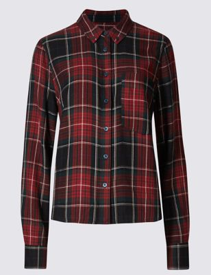 Boxy Checked Shirt - neckline: shirt collar/peter pan/zip with opening; pattern: checked/gingham; style: shirt; predominant colour: true red; secondary colour: black; occasions: casual; length: standard; fibres: viscose/rayon - 100%; fit: body skimming; sleeve length: long sleeve; sleeve style: standard; pattern type: fabric; texture group: other - light to midweight; pattern size: big & busy (top); multicoloured: multicoloured; season: s/s 2016