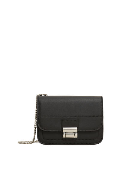 Chain Bag - predominant colour: black; occasions: casual; type of pattern: standard; style: messenger; length: across body/long; size: standard; material: faux leather; pattern: plain; finish: plain; embellishment: chain/metal; season: s/s 2016; wardrobe: highlight
