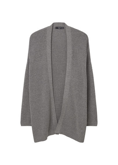 Textured Cardigan - pattern: plain; length: below the bottom; neckline: collarless open; style: open front; predominant colour: mid grey; occasions: casual; fibres: cotton - mix; fit: loose; sleeve length: long sleeve; sleeve style: standard; texture group: knits/crochet; pattern type: fabric; season: s/s 2016; wardrobe: basic