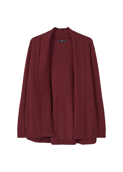 Ribbed Lapel Cardigan - pattern: plain; neckline: shawl; style: open front; predominant colour: burgundy; occasions: casual; length: standard; fit: loose; sleeve length: long sleeve; sleeve style: standard; texture group: knits/crochet; pattern type: fabric; fibres: viscose/rayon - mix; season: s/s 2016