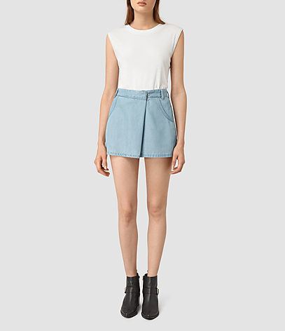 Annett Folded Mini Skirt - length: mini; pattern: plain; fit: body skimming; waist: mid/regular rise; predominant colour: pale blue; occasions: casual; style: mini skirt; texture group: denim; pattern type: fabric; fibres: viscose/rayon - mix; season: s/s 2016; wardrobe: basic