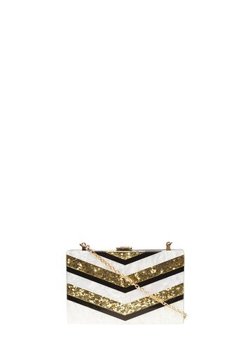 Womens Stripe Resin Clutch Bag Gold - predominant colour: gold; secondary colour: black; occasions: evening, occasion; type of pattern: light; style: clutch; length: hand carry; size: small; material: faux leather; pattern: striped; finish: plain; season: s/s 2016; wardrobe: event
