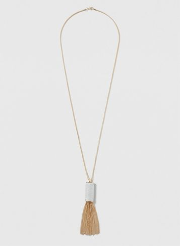Womens Gold And Silver Necklace Silver - predominant colour: gold; occasions: evening, creative work; style: pendant; length: long; size: standard; material: chain/metal; finish: metallic; embellishment: tassels; season: s/s 2016