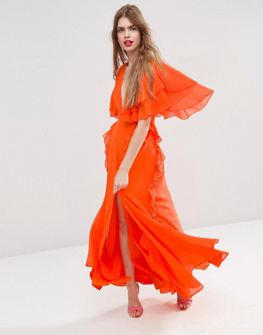 Ruffle Flutter Sleeve Maxi Dress Orange - neckline: plunge; sleeve style: angel/waterfall; fit: fitted at waist; pattern: plain; style: maxi dress; length: ankle length; predominant colour: bright orange; occasions: evening, occasion; fibres: polyester/polyamide - 100%; sleeve length: half sleeve; texture group: sheer fabrics/chiffon/organza etc.; bust detail: bulky details at bust; pattern type: fabric; season: s/s 2016; wardrobe: event