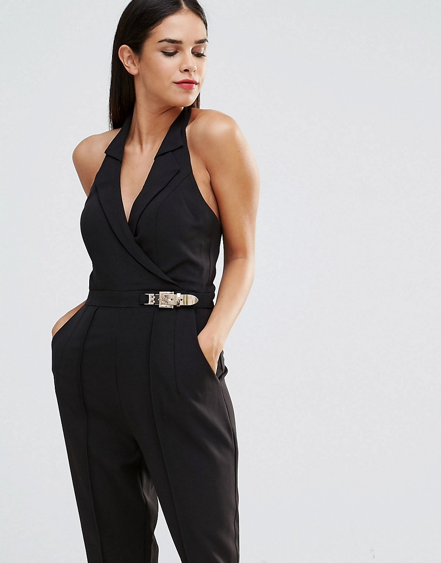 Antonia Halterneck Jumpsuit Black - length: standard; fit: tailored/fitted; pattern: plain; sleeve style: sleeveless; neckline: low halter neck; waist detail: belted waist/tie at waist/drawstring; predominant colour: black; occasions: evening, occasion; fibres: polyester/polyamide - 100%; hip detail: subtle/flattering hip detail; sleeve length: sleeveless; texture group: crepes; style: jumpsuit; pattern type: fabric; season: s/s 2016; wardrobe: event