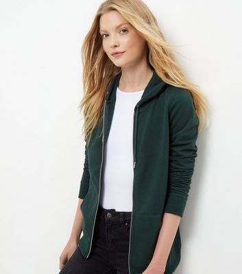 Green Basic Zip Up Hoodie - pattern: plain; neckline: collarless open; predominant colour: dark green; occasions: casual; length: standard; fibres: cotton - mix; fit: loose; sleeve length: long sleeve; sleeve style: standard; texture group: knits/crochet; pattern type: knitted - fine stitch; style: hoody; season: s/s 2016; wardrobe: highlight