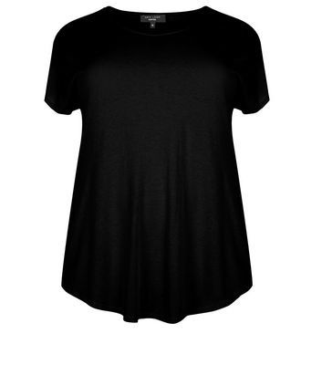 Curves Black T Shirt - neckline: v-neck; pattern: plain; style: t-shirt; predominant colour: black; occasions: casual; length: standard; fibres: cotton - mix; fit: body skimming; sleeve length: short sleeve; sleeve style: standard; pattern type: fabric; texture group: jersey - stretchy/drapey; season: s/s 2016; wardrobe: basic
