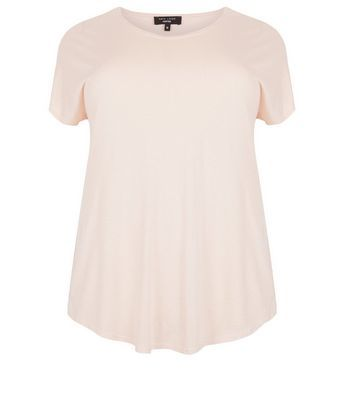 Curves Shell Pink T Shirt - pattern: plain; style: t-shirt; predominant colour: blush; occasions: casual; length: standard; fibres: cotton - mix; fit: body skimming; neckline: crew; back detail: longer hem at back than at front; sleeve length: short sleeve; sleeve style: standard; pattern type: fabric; texture group: jersey - stretchy/drapey; season: s/s 2016; wardrobe: basic
