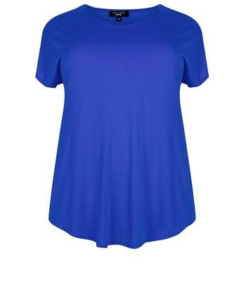 Curves Blue T Shirt - pattern: plain; style: t-shirt; predominant colour: royal blue; occasions: casual; length: standard; fibres: cotton - mix; fit: body skimming; neckline: crew; sleeve length: short sleeve; sleeve style: standard; pattern type: fabric; texture group: jersey - stretchy/drapey; season: s/s 2016; wardrobe: highlight