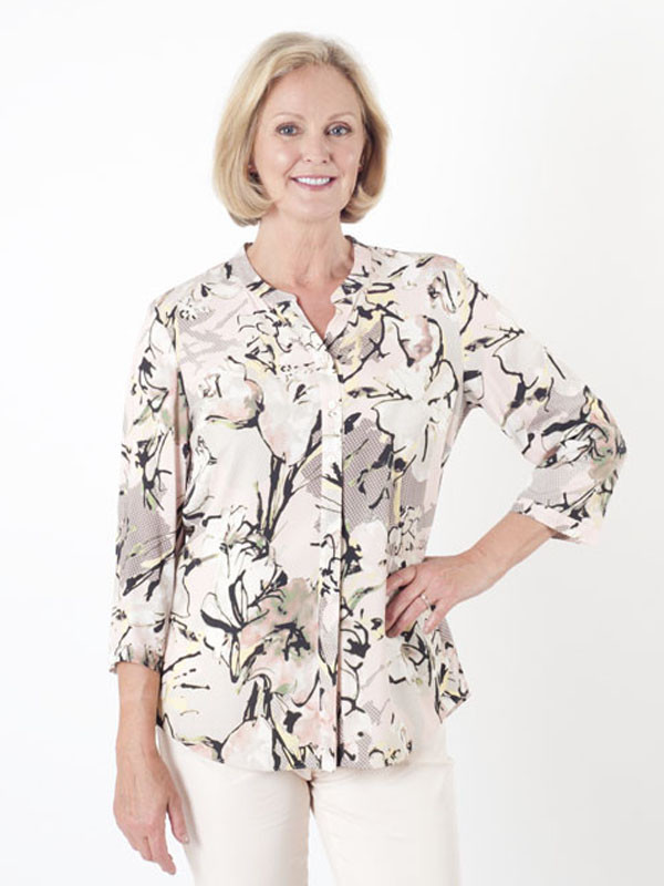 Gerry Weber Multi Print Collarless Blouse - style: shirt; predominant colour: white; secondary colour: stone; occasions: casual, creative work; length: standard; neckline: collarstand & mandarin with v-neck; fibres: polyester/polyamide - 100%; fit: straight cut; sleeve length: 3/4 length; sleeve style: standard; pattern type: fabric; pattern size: standard; pattern: florals; texture group: woven light midweight; season: s/s 2016; wardrobe: highlight