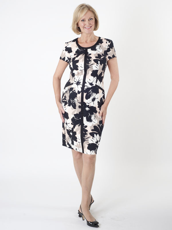 Gerry Weber Floral Shift Dress - style: shift; predominant colour: white; secondary colour: black; occasions: evening; length: on the knee; fit: body skimming; fibres: cotton - stretch; neckline: crew; sleeve length: short sleeve; sleeve style: standard; pattern type: fabric; pattern size: big & busy; pattern: florals; texture group: jersey - stretchy/drapey; multicoloured: multicoloured; season: s/s 2016; wardrobe: event
