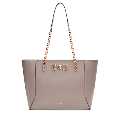 Jalie Bow Leather Shopper Bag - predominant colour: taupe; occasions: work, creative work; type of pattern: standard; style: tote; length: shoulder (tucks under arm); size: standard; material: leather; pattern: plain; finish: plain; embellishment: bow; season: s/s 2016
