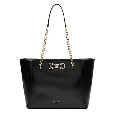 Jalie Bow Leather Shopper Bag - predominant colour: black; occasions: casual, work, creative work; type of pattern: standard; style: tote; length: shoulder (tucks under arm); size: standard; material: leather; pattern: plain; finish: plain; embellishment: bow; season: s/s 2016; wardrobe: investment