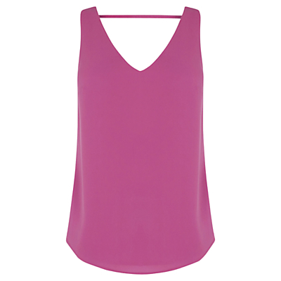 Scoop Front And Back Vest - sleeve style: standard vest straps/shoulder straps; pattern: plain; style: vest top; predominant colour: hot pink; occasions: casual, creative work; length: standard; neckline: scoop; fibres: polyester/polyamide - 100%; fit: loose; sleeve length: sleeveless; texture group: sheer fabrics/chiffon/organza etc.; pattern type: fabric; season: s/s 2016; wardrobe: highlight