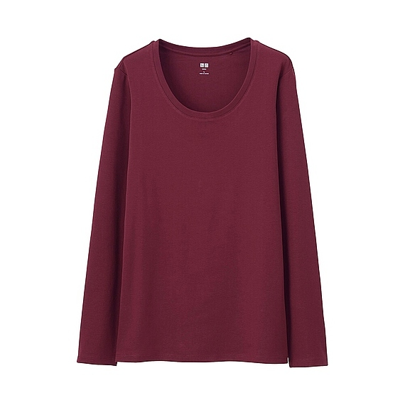 Women Supima Cotton Crew Neck T Shirt Wine - pattern: plain; style: t-shirt; predominant colour: burgundy; occasions: casual, work, creative work; length: standard; neckline: scoop; fibres: cotton - 100%; fit: loose; sleeve length: long sleeve; sleeve style: standard; pattern type: fabric; texture group: jersey - stretchy/drapey; season: s/s 2016; wardrobe: highlight