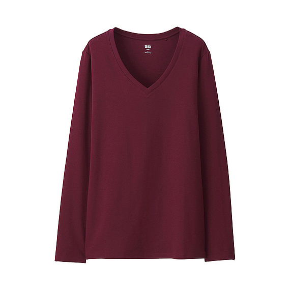 Women Supima Cotton V Neck T Shirt (9 Colours) Wine - neckline: v-neck; pattern: plain; predominant colour: burgundy; occasions: casual; length: standard; style: top; fibres: cotton - 100%; fit: loose; sleeve length: long sleeve; sleeve style: standard; texture group: knits/crochet; pattern type: knitted - fine stitch; season: s/s 2016; wardrobe: highlight