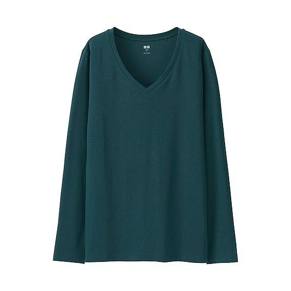 Women Supima Cotton V Neck T Shirt (9 Colours) Dark Green - neckline: v-neck; pattern: plain; predominant colour: dark green; occasions: casual; length: standard; style: top; fibres: cotton - 100%; fit: loose; sleeve length: long sleeve; sleeve style: standard; pattern type: fabric; texture group: jersey - stretchy/drapey; season: s/s 2016; wardrobe: highlight