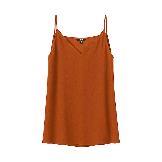 Women Crepe Camisole Orange - neckline: v-neck; sleeve style: spaghetti straps; pattern: plain; style: camisole; predominant colour: terracotta; occasions: casual; length: standard; fibres: polyester/polyamide - 100%; fit: body skimming; sleeve length: sleeveless; texture group: crepes; pattern type: fabric; season: s/s 2016; wardrobe: highlight