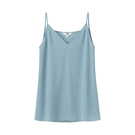 Women Crepe Camisole Blue - neckline: v-neck; sleeve style: spaghetti straps; pattern: plain; style: camisole; predominant colour: pale blue; occasions: casual; length: standard; fibres: polyester/polyamide - 100%; fit: body skimming; sleeve length: sleeveless; texture group: sheer fabrics/chiffon/organza etc.; pattern type: fabric; season: s/s 2016; wardrobe: highlight