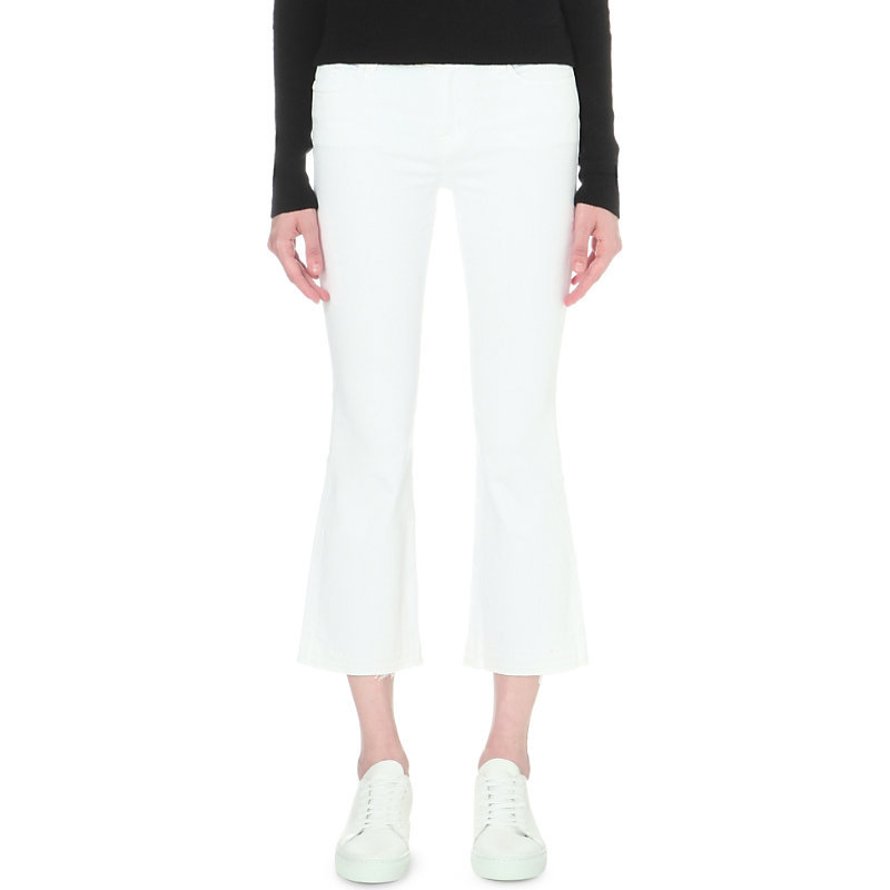 Selena Frayed Mid Rise Jeans, Women's, Blanc - style: bootcut; pattern: plain; pocket detail: traditional 5 pocket; waist: mid/regular rise; predominant colour: white; occasions: casual, creative work; length: calf length; fibres: cotton - stretch; texture group: denim; pattern type: fabric; season: s/s 2016; wardrobe: highlight
