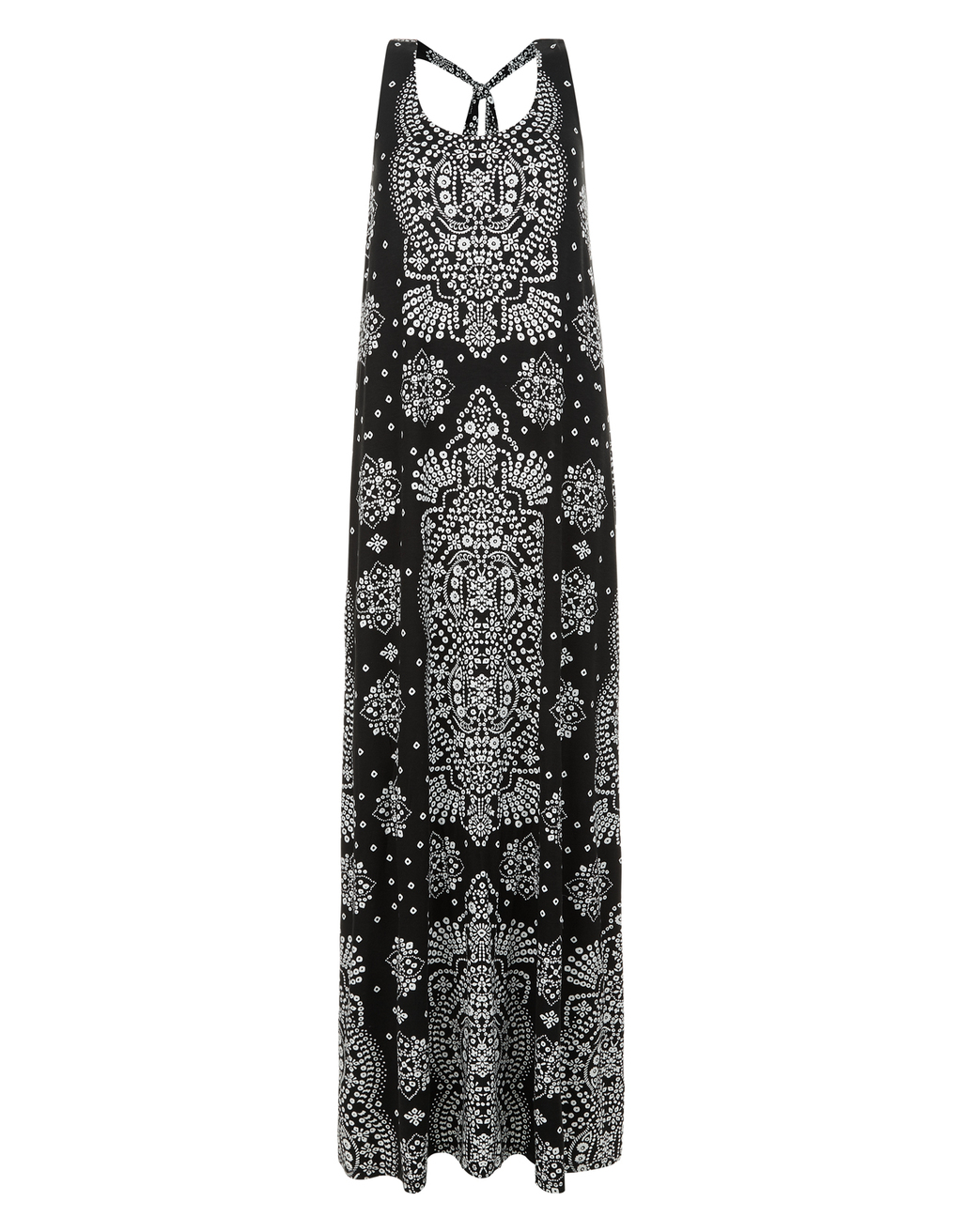 Madeline Printed Jersey Maxi Dress - sleeve style: standard vest straps/shoulder straps; style: maxi dress; length: ankle length; back detail: low cut/open back; secondary colour: light grey; predominant colour: black; occasions: casual, holiday; fit: body skimming; neckline: scoop; fibres: polyester/polyamide - 100%; sleeve length: sleeveless; pattern type: fabric; pattern size: big & busy; pattern: patterned/print; texture group: jersey - stretchy/drapey; season: s/s 2016; wardrobe: highlight