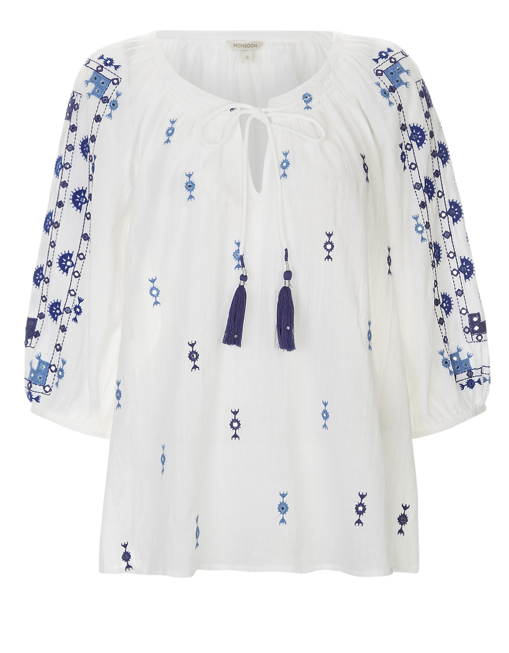 Edie Embroidered Kaftan - length: mid thigh; pattern: plain; style: kaftan; predominant colour: white; secondary colour: denim; occasions: casual, holiday; fit: body skimming; neckline: peep hole neckline; fibres: cotton - 100%; sleeve length: 3/4 length; sleeve style: standard; pattern type: fabric; texture group: other - light to midweight; embellishment: embroidered; season: s/s 2016; wardrobe: highlight