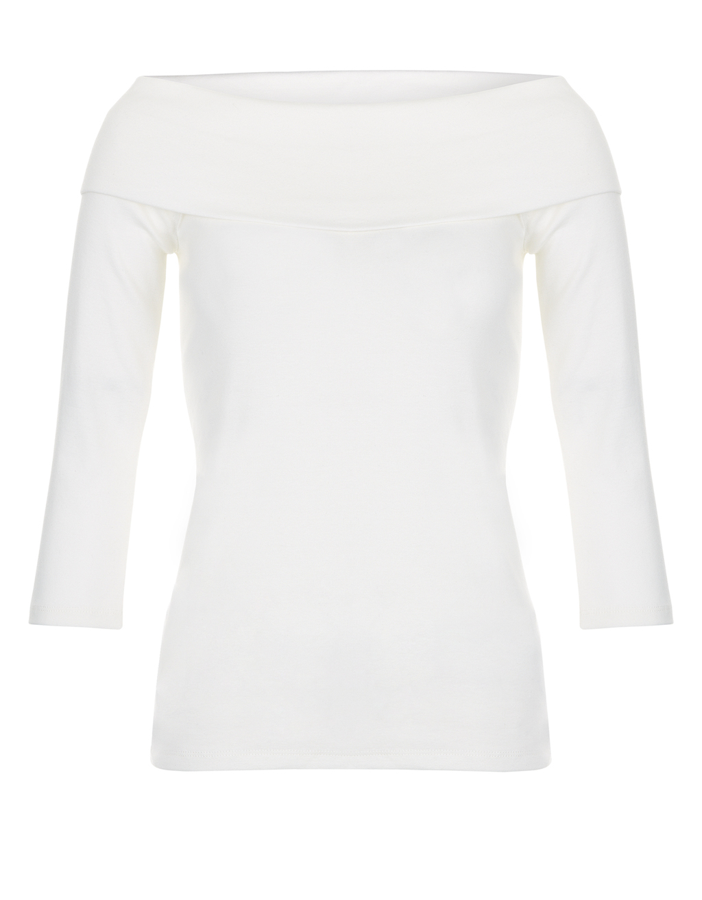 Jezabella Bardot Top - neckline: slash/boat neckline; pattern: plain; predominant colour: ivory/cream; occasions: casual; length: standard; style: top; fibres: cotton - 100%; fit: body skimming; sleeve length: 3/4 length; sleeve style: standard; pattern type: fabric; texture group: jersey - stretchy/drapey; season: s/s 2016; wardrobe: basic