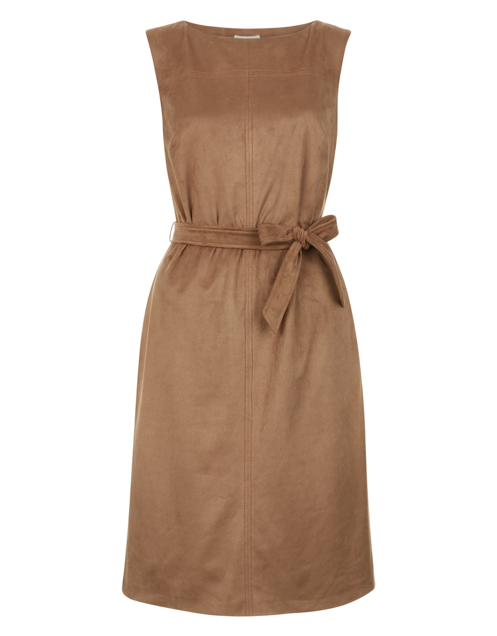 Arya Suedette Dress - style: shift; fit: tailored/fitted; pattern: plain; sleeve style: sleeveless; waist detail: belted waist/tie at waist/drawstring; predominant colour: tan; length: just above the knee; fibres: polyester/polyamide - 100%; neckline: crew; sleeve length: sleeveless; pattern type: fabric; texture group: suede; occasions: creative work; season: s/s 2016