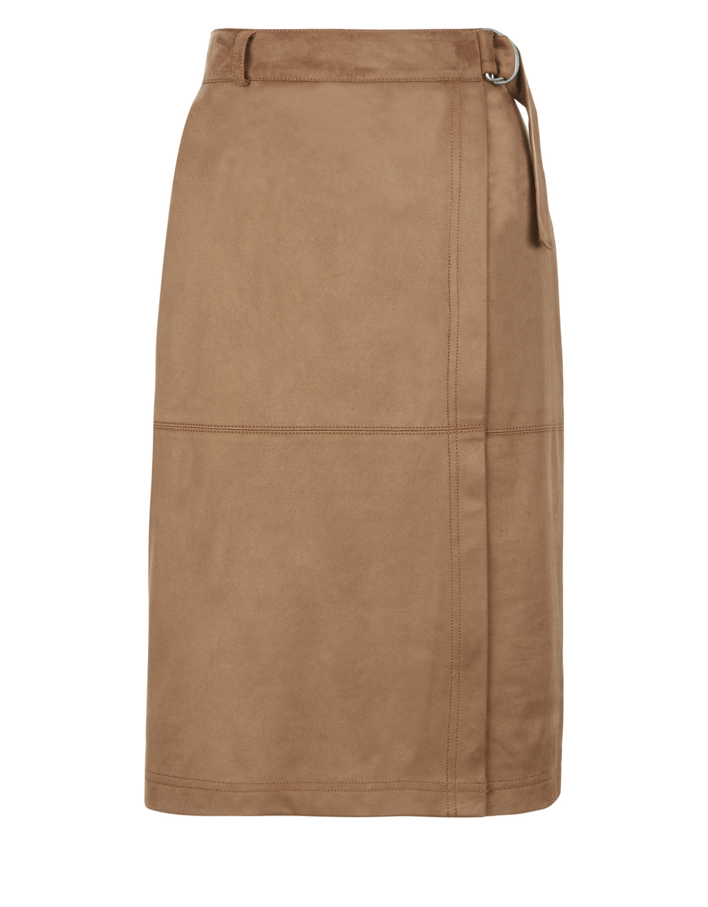 Arya Suedette Skirt - pattern: plain; style: pencil; fit: body skimming; waist detail: belted waist/tie at waist/drawstring; waist: mid/regular rise; predominant colour: camel; occasions: casual; length: on the knee; fibres: polyester/polyamide - stretch; pattern type: fabric; texture group: suede; season: s/s 2016; wardrobe: highlight