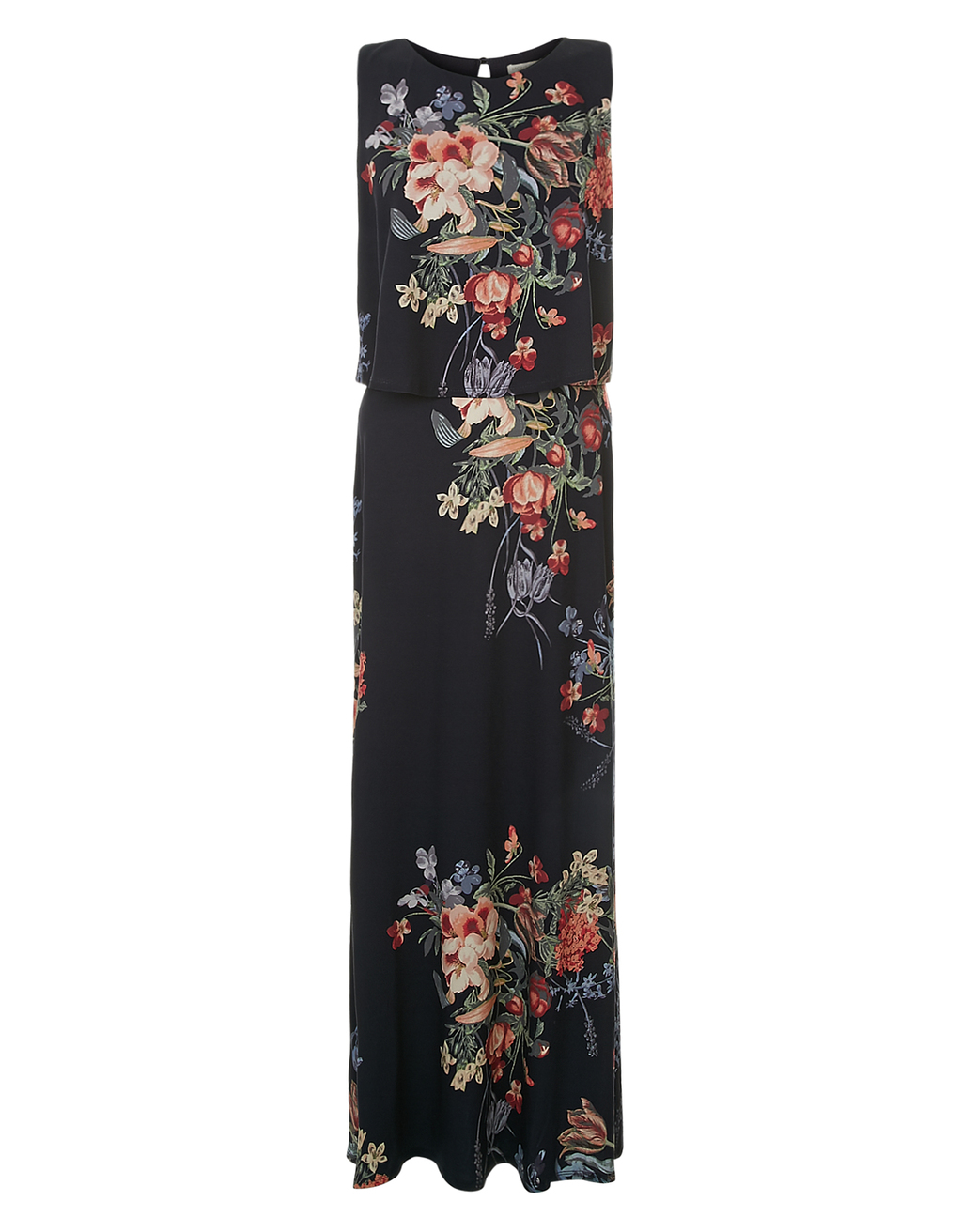Rosetti Overlay Maxi Dress - sleeve style: sleeveless; style: maxi dress; secondary colour: true red; predominant colour: black; occasions: evening; length: floor length; fit: body skimming; fibres: viscose/rayon - stretch; neckline: crew; sleeve length: sleeveless; pattern type: fabric; pattern: florals; texture group: jersey - stretchy/drapey; multicoloured: multicoloured; season: s/s 2016
