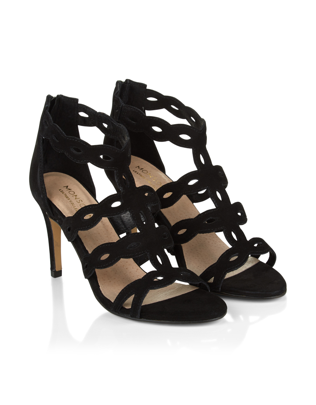 Lyra Lasercut Heeled Sandal - predominant colour: black; occasions: evening, occasion; material: suede; heel height: high; ankle detail: ankle strap; heel: stiletto; toe: open toe/peeptoe; style: strappy; finish: plain; pattern: plain; season: s/s 2016; wardrobe: event