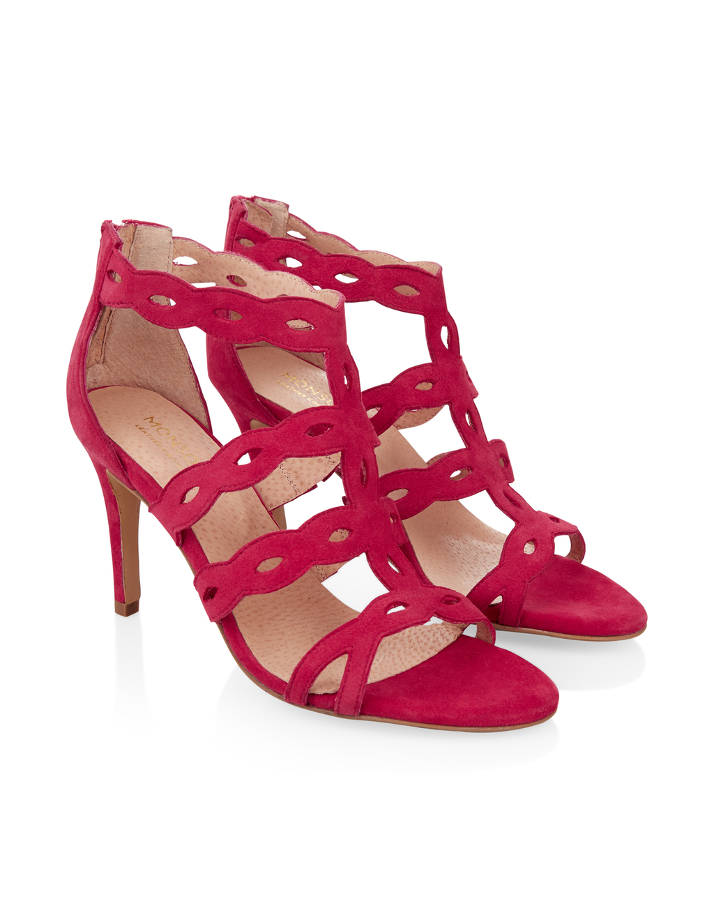 Lyra Lasercut Heeled Sandal - predominant colour: true red; occasions: evening, occasion; material: suede; heel height: high; ankle detail: ankle strap; heel: stiletto; toe: open toe/peeptoe; style: strappy; finish: plain; pattern: plain; season: s/s 2016; wardrobe: event
