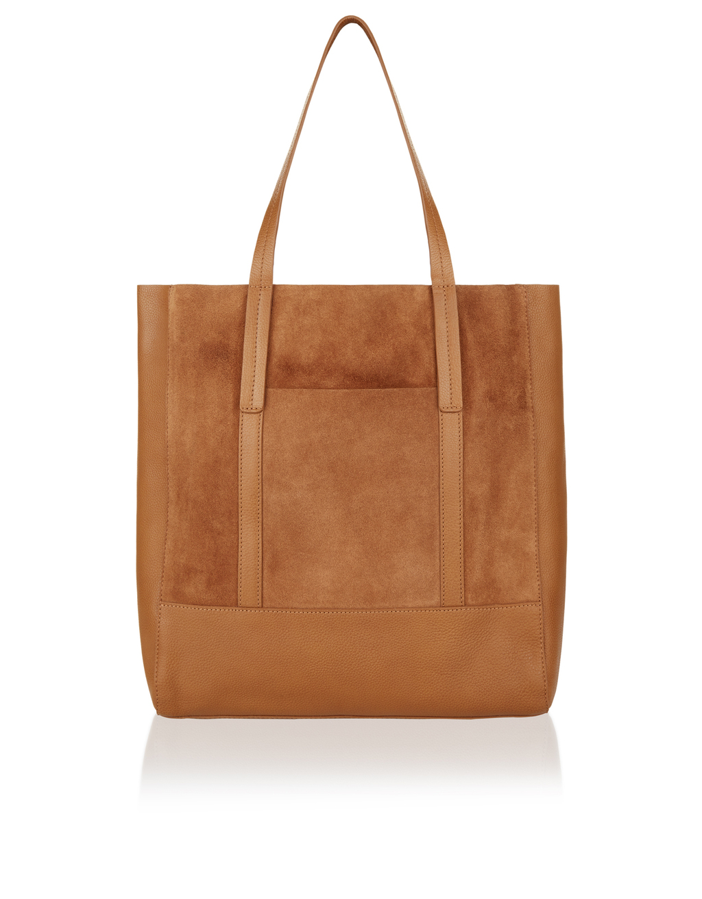 Carina Suede & Leather Shopper Bag - predominant colour: tan; occasions: casual, creative work; type of pattern: standard; style: tote; length: shoulder (tucks under arm); size: oversized; material: leather; pattern: plain; finish: plain; season: s/s 2016; wardrobe: highlight