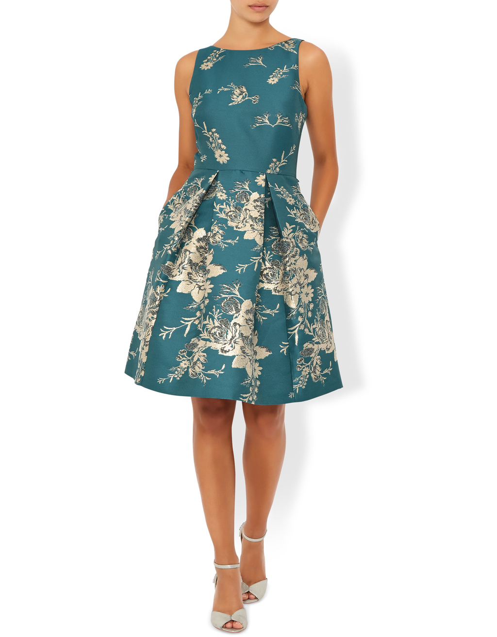 Sapphira Jacquard Dress - sleeve style: sleeveless; style: prom dress; waist detail: fitted waist; secondary colour: ivory/cream; predominant colour: teal; occasions: evening, occasion; length: just above the knee; fit: fitted at waist & bust; fibres: polyester/polyamide - 100%; neckline: crew; hip detail: structured pleats at hip; sleeve length: sleeveless; pattern type: fabric; pattern: florals; texture group: brocade/jacquard; season: s/s 2016