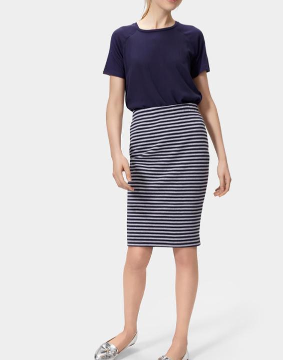Penelope Jersey Pencil Skirt Grey Navy Stripe - style: pencil; fit: body skimming; waist: mid/regular rise; secondary colour: white; predominant colour: navy; occasions: casual; length: just above the knee; fibres: viscose/rayon - stretch; pattern type: fabric; texture group: jersey - stretchy/drapey; pattern: horizontal stripes (bottom); multicoloured: multicoloured; season: s/s 2016