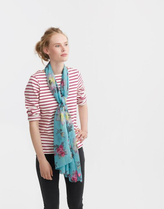 Soft Teal Floral Wensley Scarf Size One Size | Uk - predominant colour: turquoise; occasions: casual; type of pattern: heavy; style: regular; size: standard; material: fabric; pattern: florals; season: s/s 2016; wardrobe: highlight
