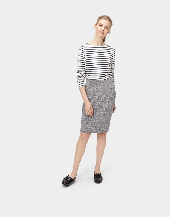 Penelope Jersey Pencil Skirt Pepper Marl - pattern: plain; style: pencil; fit: body skimming; waist: mid/regular rise; predominant colour: mid grey; occasions: casual; length: on the knee; fibres: viscose/rayon - stretch; texture group: jersey - clingy; pattern type: fabric; season: s/s 2016; wardrobe: basic