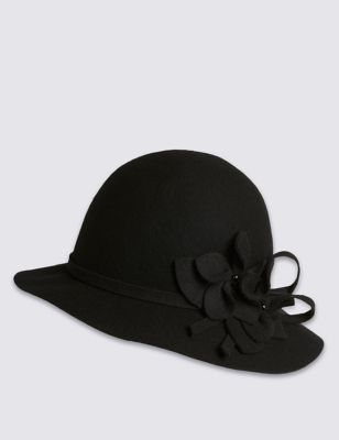 Pure Wool Floral Cloche Hat - predominant colour: black; occasions: casual, creative work; type of pattern: standard; style: cloche; size: standard; material: felt; pattern: plain; embellishment: corsage; season: s/s 2016; wardrobe: highlight